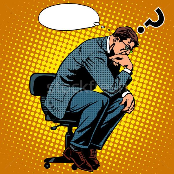 Denker zakenman business pop art retro-stijl creatief denken Stockfoto © studiostoks
