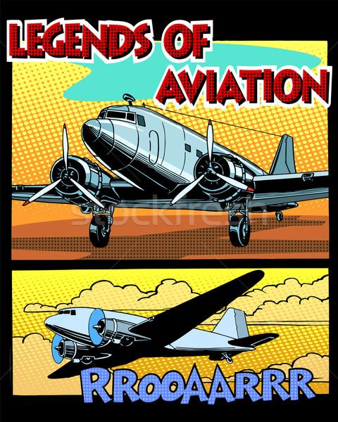 Légi közlekedés absztrakt retro repülőgép pop art retró stílus Stock fotó © studiostoks