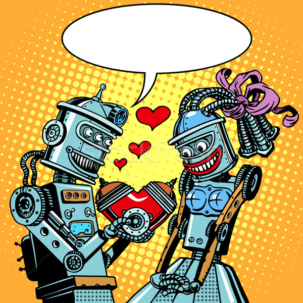 Robots man woman love Valentines day and wedding Stock photo © studiostoks