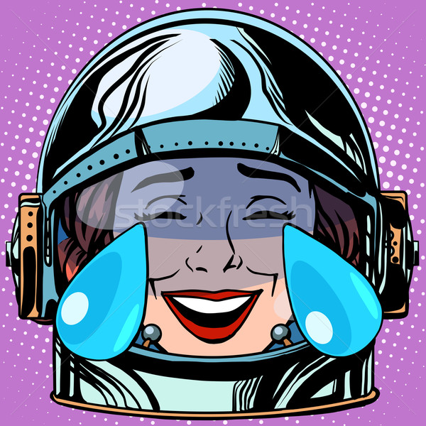 Emoticon tranen vreugde gezicht vrouw astronaut Stockfoto © studiostoks