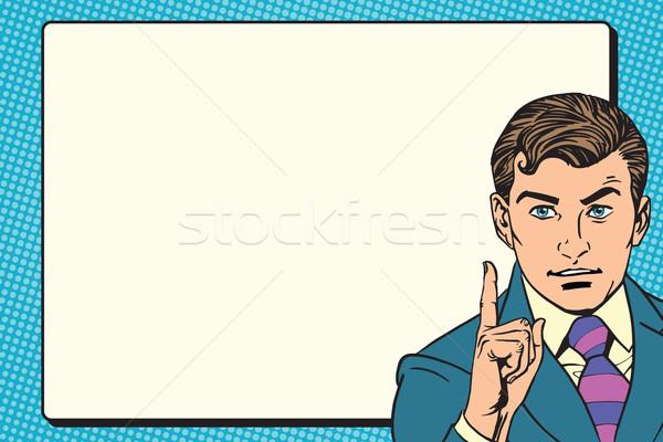 Foto stock: Empresário · promo · cartaz · retro · vetor