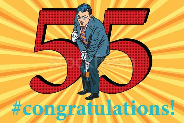 Glückwünsche Jahrestag Veranstaltung Feier glücklich Mann Stock foto © studiostoks