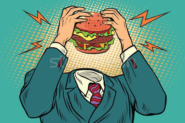Honger hamburger hoofd fast food restaurants vintage Stockfoto © studiostoks