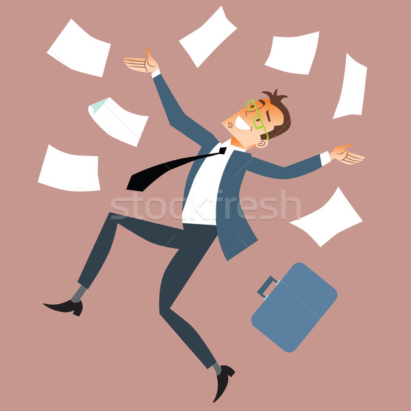 Businessman throws paper Stock photo © studiostoks