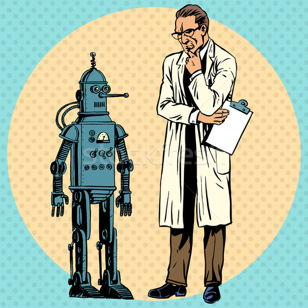 Professor scientist and robot. Creator gadget retro technology Stock photo © studiostoks