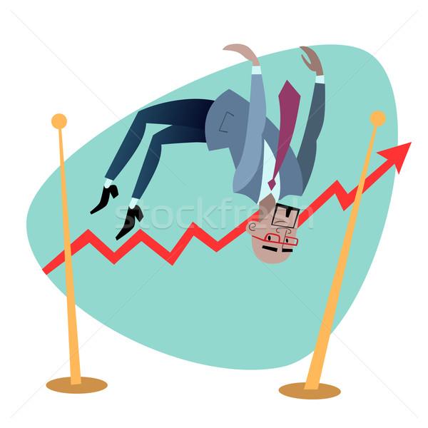 African businessman jumps schedule of sales like a jumper Stock photo © studiostoks