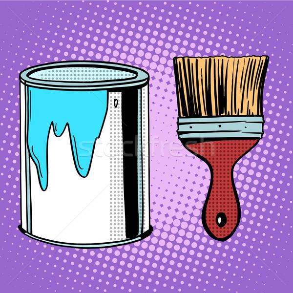 Stockfoto: Penseel · werk · schilderij · ontwerp · pop · art · retro-stijl