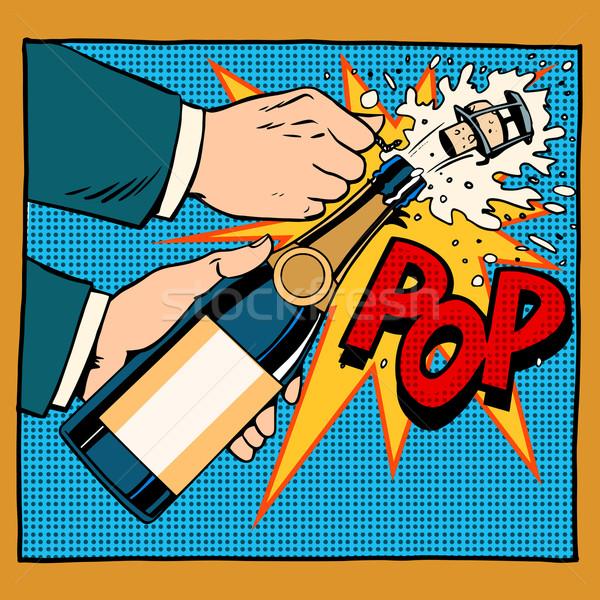 Açılış şampanya şişe pop art retro tarzı evlilik yıldönümü Stok fotoğraf © studiostoks