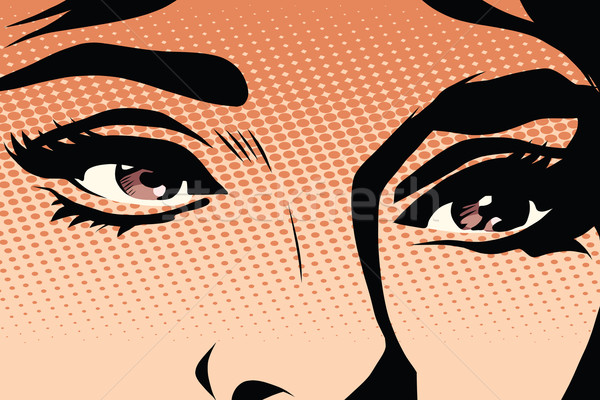 Barna szemek retro nő pop art vektor smink Stock fotó © studiostoks