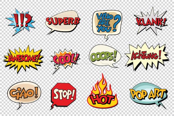 set comic book bubble stickers Stock photo © studiostoks
