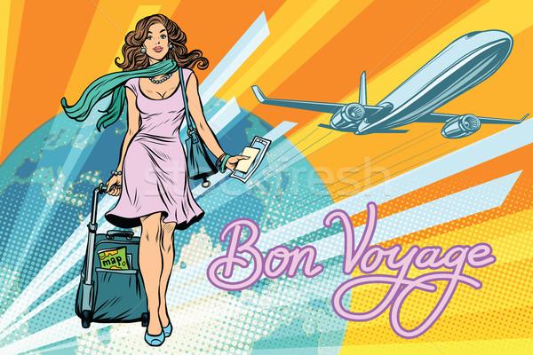 Bella ragazza biglietto volo pop art retro viaggio Foto d'archivio © studiostoks