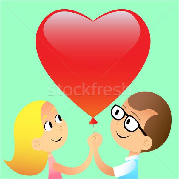 мальчика девушки мяча красный сердце любви Сток-фото © studiostoks