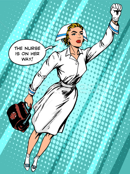 Super hero nurse flies to the rescue Stock photo © studiostoks