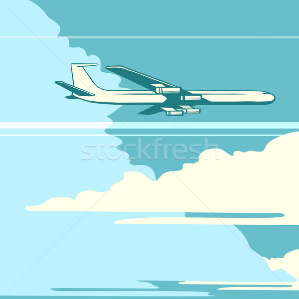 Retro airplane in the sky Stock photo © studiostoks