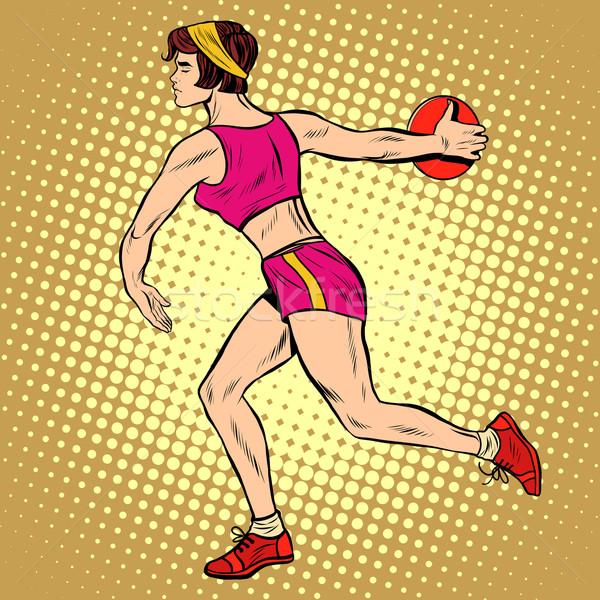 Girl discus thrower athletics summer sports games Stock photo © studiostoks
