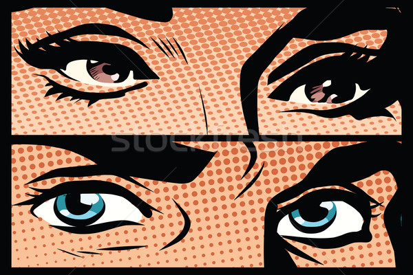 Male and female eyes close-up pop art retro Stock photo © studiostoks