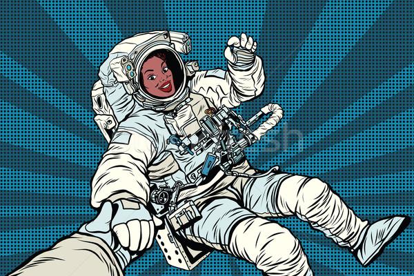 Stok fotoğraf: Kadın · astronot · jest · neden · pop · art
