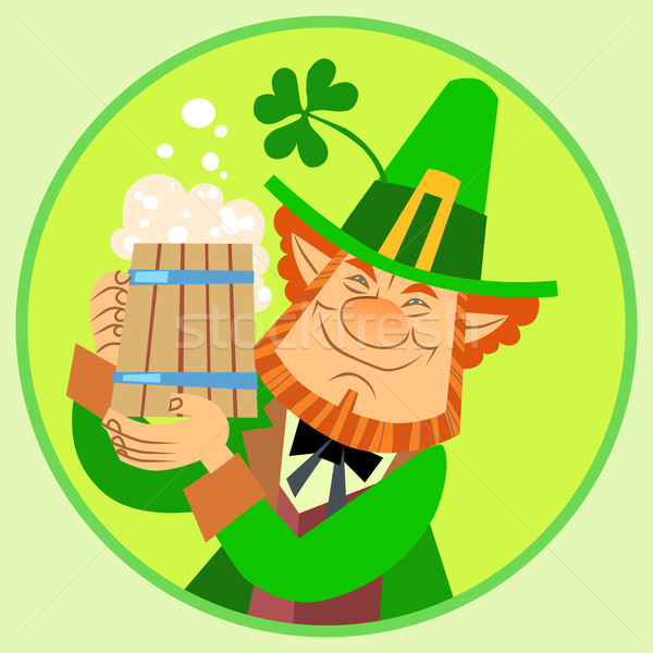 Day Patrick green leprechaun with beer and Shamrock Stock photo © studiostoks