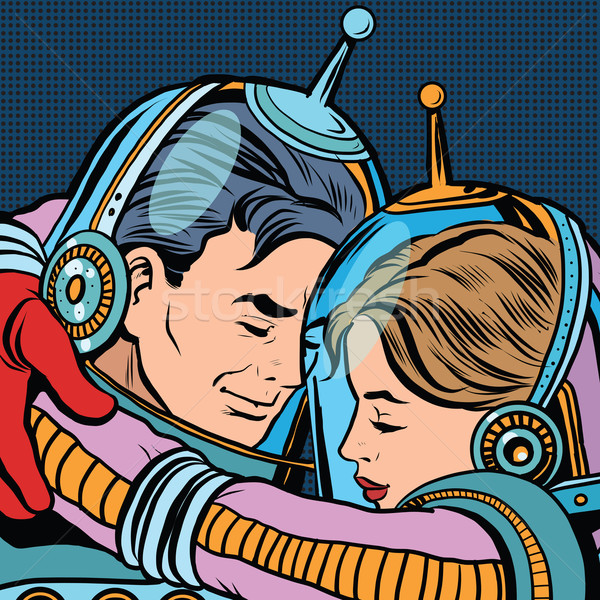 Retro love couple astronauts man woman Stock photo © studiostoks