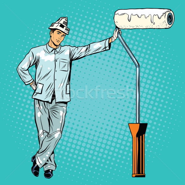 house painter with paint rollers Stock photo © studiostoks