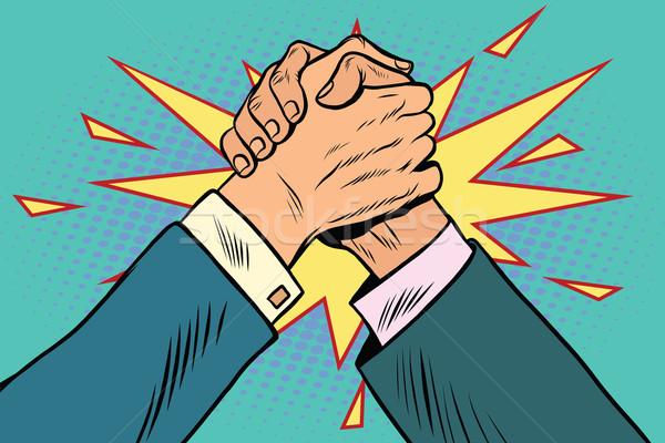 ビジネス 腕相撲 戦う 対決 ポップアート レトロな ストックフォト © studiostoks
