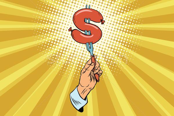 Dollár gyorsételek pénzügy pop art retro kolbász Stock fotó © studiostoks