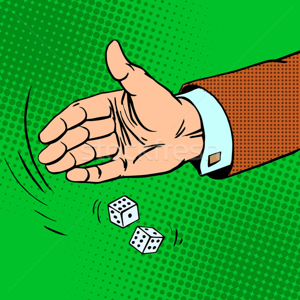 Case the die is dice throwing hand business concept Stock photo © studiostoks