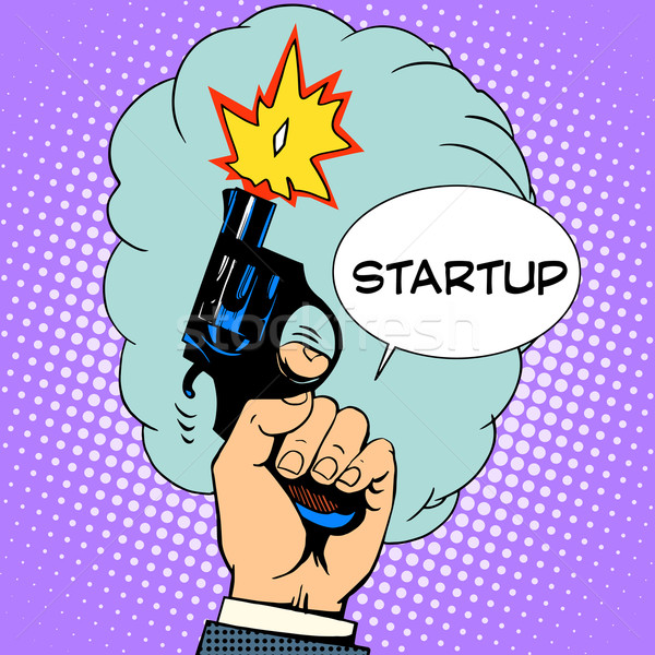 üzlet startup pisztoly retró stílus pop art munka Stock fotó © studiostoks
