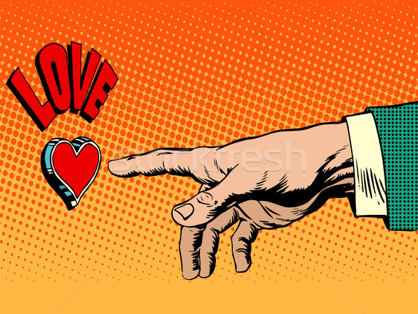 Miłości romans strony przycisk pop art w stylu retro Zdjęcia stock © studiostoks
