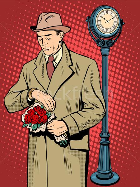 знакомства любви время Смотреть человека Поп-арт Сток-фото © studiostoks