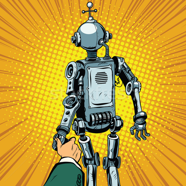 Me robot vooruit pop art retro vector Stockfoto © studiostoks