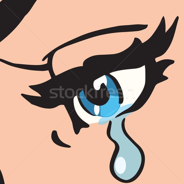 Primer plano ojos azules mujer llorando arte pop retro Foto stock © studiostoks