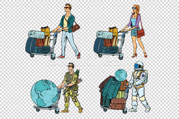 Set travelers man woman soldier and astronaut Stock photo © studiostoks