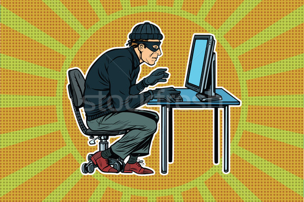 хакер сидят компьютер Поп-арт ретро бизнеса Сток-фото © studiostoks