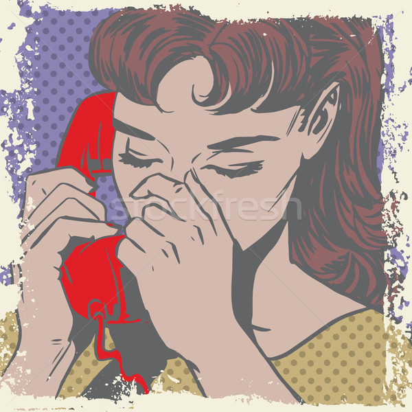 Woman talking on the phone sad pop art comics retro style Halfto Stock photo © studiostoks