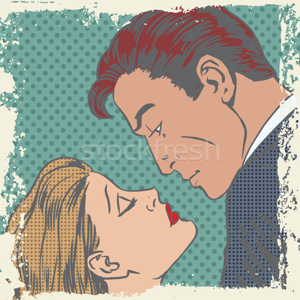 Homme femme baiser pop art style rétro Photo stock © studiostoks
