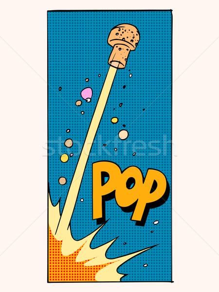 Pop abrir champanhe cortiça férias celebração Foto stock © studiostoks