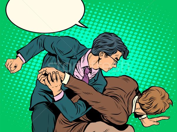 Férfiak üzletemberek harcol pop art retró stílus klasszikus Stock fotó © studiostoks