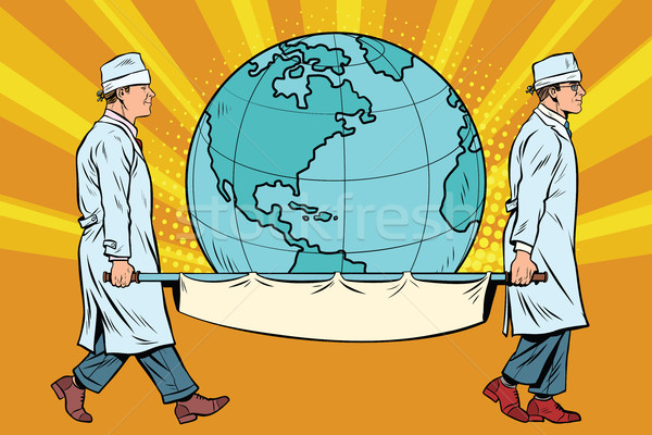 medics carry the planet Earth on a stretcher Stock photo © studiostoks