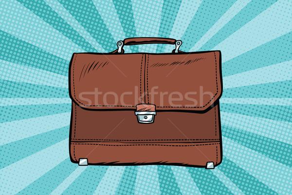 Stockfoto: Business · leder · aktetas · pop · art · retro · tekening