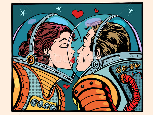 Kiss space man and woman astronauts Stock photo © studiostoks