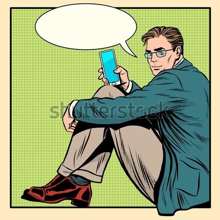 üzletember gondolkodó wc pop art retró stílus férfi Stock fotó © studiostoks