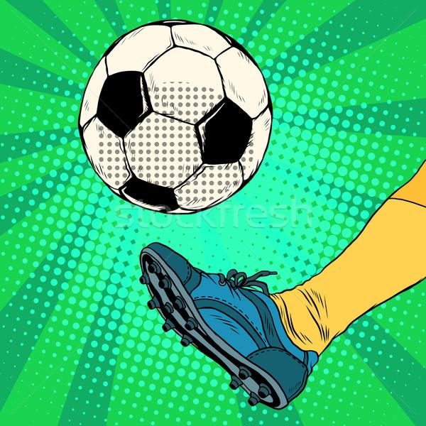 Kick voetbal pop art retro-stijl europese voetbal Stockfoto © studiostoks
