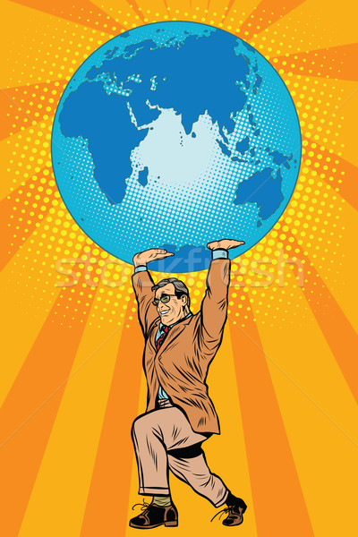 Internationale bedrijfsleven baas aarde pop art retro-stijl globale Stockfoto © studiostoks