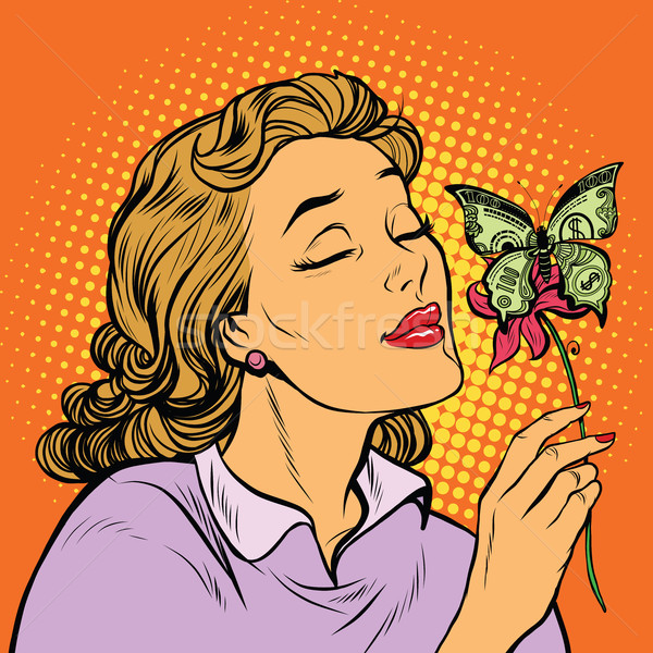 Kadın kelebek para hayır pop art Retro Stok fotoğraf © studiostoks