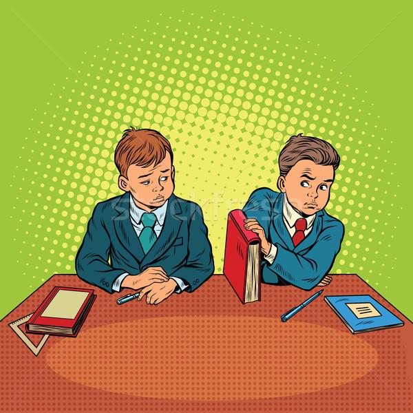 Deux garçons école discrimination pop art rétro Photo stock © studiostoks