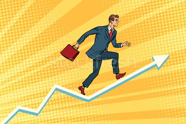 Empresário corrida programar crescimento retro Foto stock © studiostoks