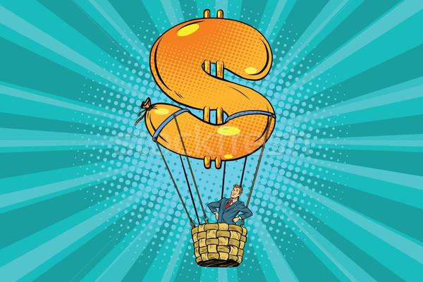 üzletember hőlégballon dollár pop art retro pénz Stock fotó © studiostoks