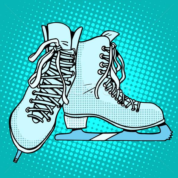 Patines invierno deportes arte pop estilo retro hockey Foto stock © studiostoks