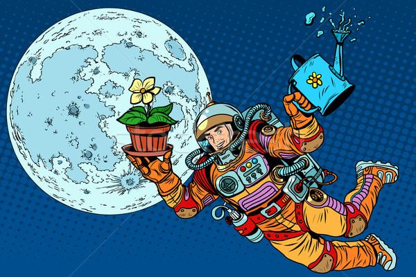 Lune astronaute plantes pop art style rétro écologie Photo stock © studiostoks